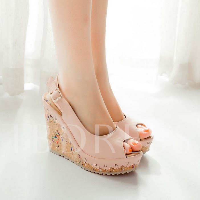 Wedge Heel Buckle Peep Toe Women's Sandals