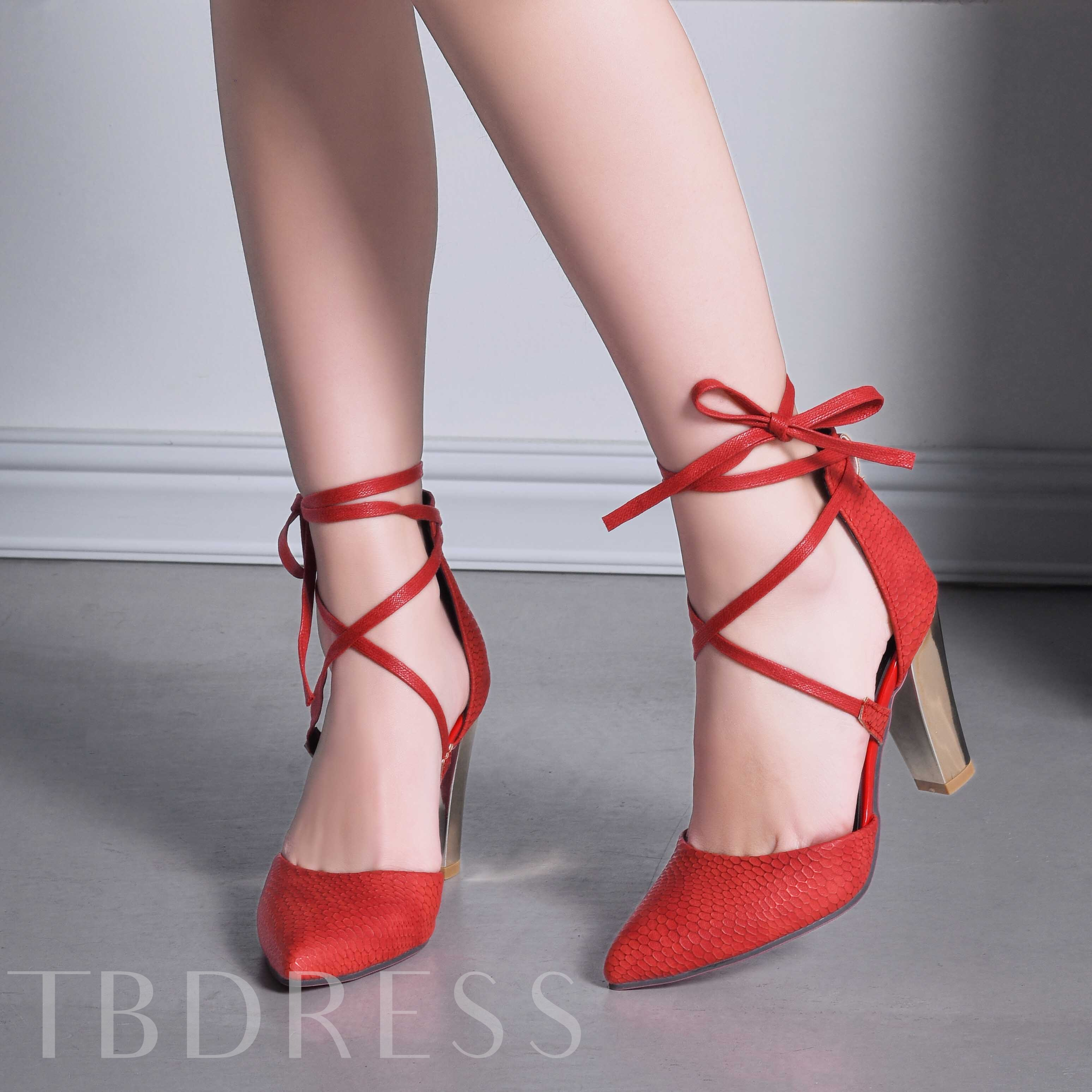 Cross Strap Chunky Heel Pointed Toe Lace-Up Front Plain Women's Pumps