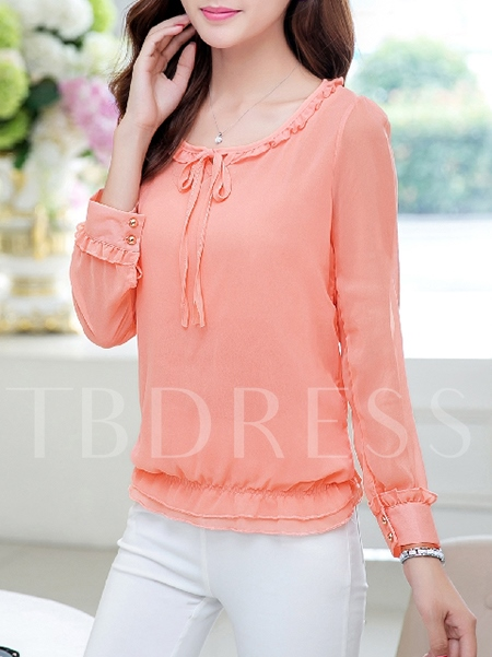 Round Neck Solid Color Women's Blouse