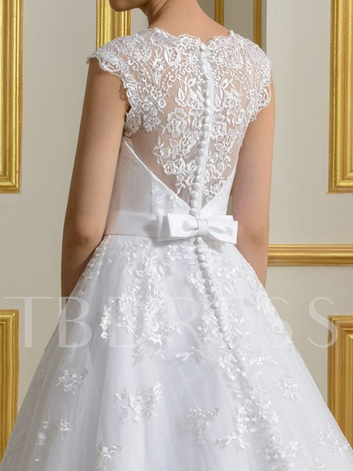 White Lace Bow Knot Court Train A-Line Wedding Dress
