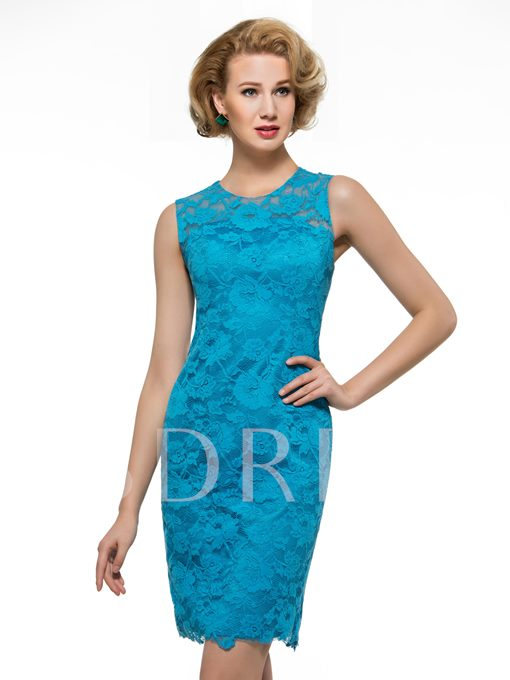 Knee-Length Sleeveless Lace Short Mother of the Bride Dress with Shawl
