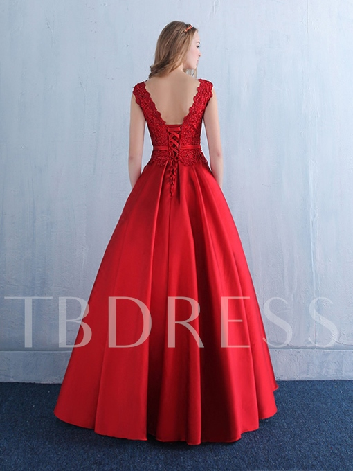 A-Line Scalloped-Edge Beading Bow Lace Floor-Length Evening Dress