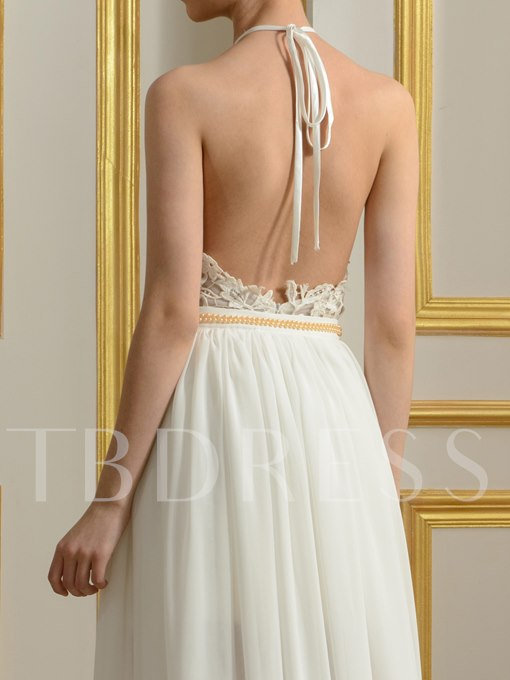 Sexy Backless Halter Neck Split-Front Lace Chiffon Beach Wedding Dress