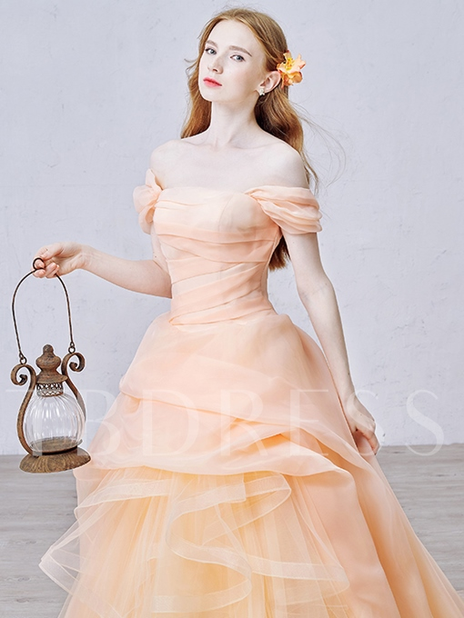 Off-the-Shoulder Ball Gown Ruched Court Train Quinceanera Dress