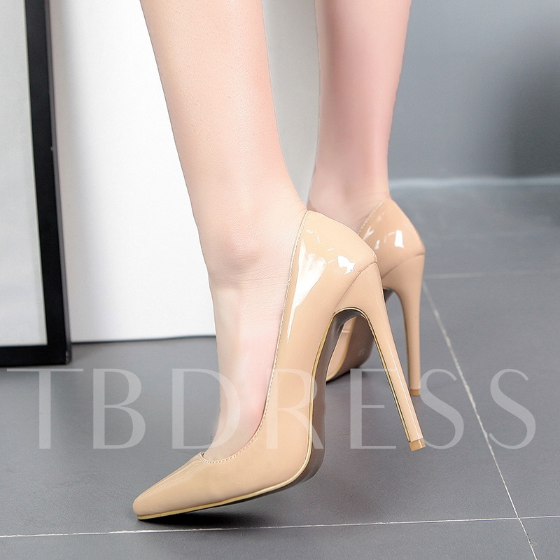 Pointed Toe Slip-On Stiletto Ultra-High Heel Plain Women's Pumps