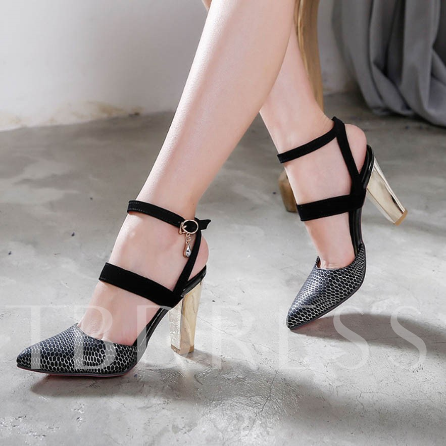 Chunky Heel Buckle Plain Pointed Toe Pointed Toe Women's Pumps