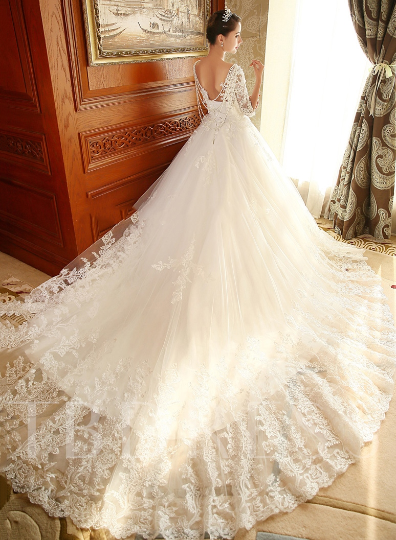 Half Sleeve Lace Beading Chapel Ball Gown Wedding Dress