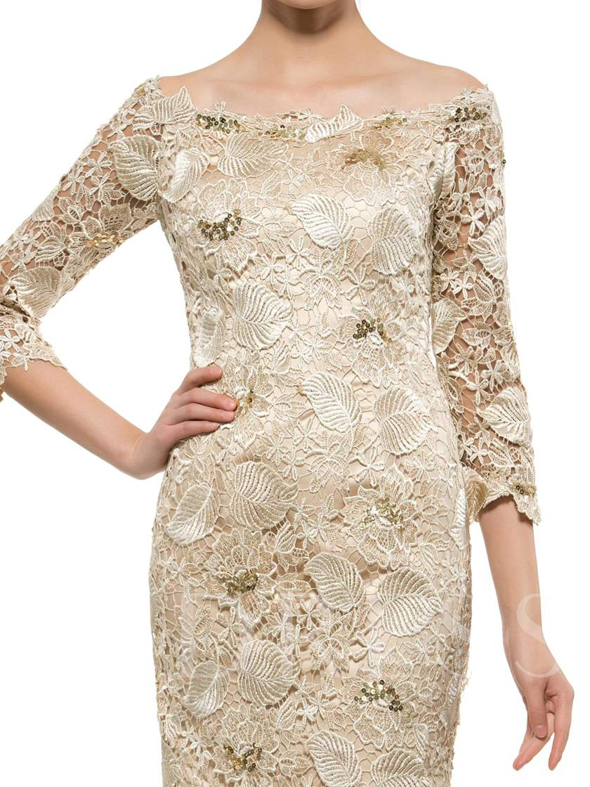 Plus Size Bateau 3/4 Length Sleeve Lace Knee-Length Mother of the Bride Dress