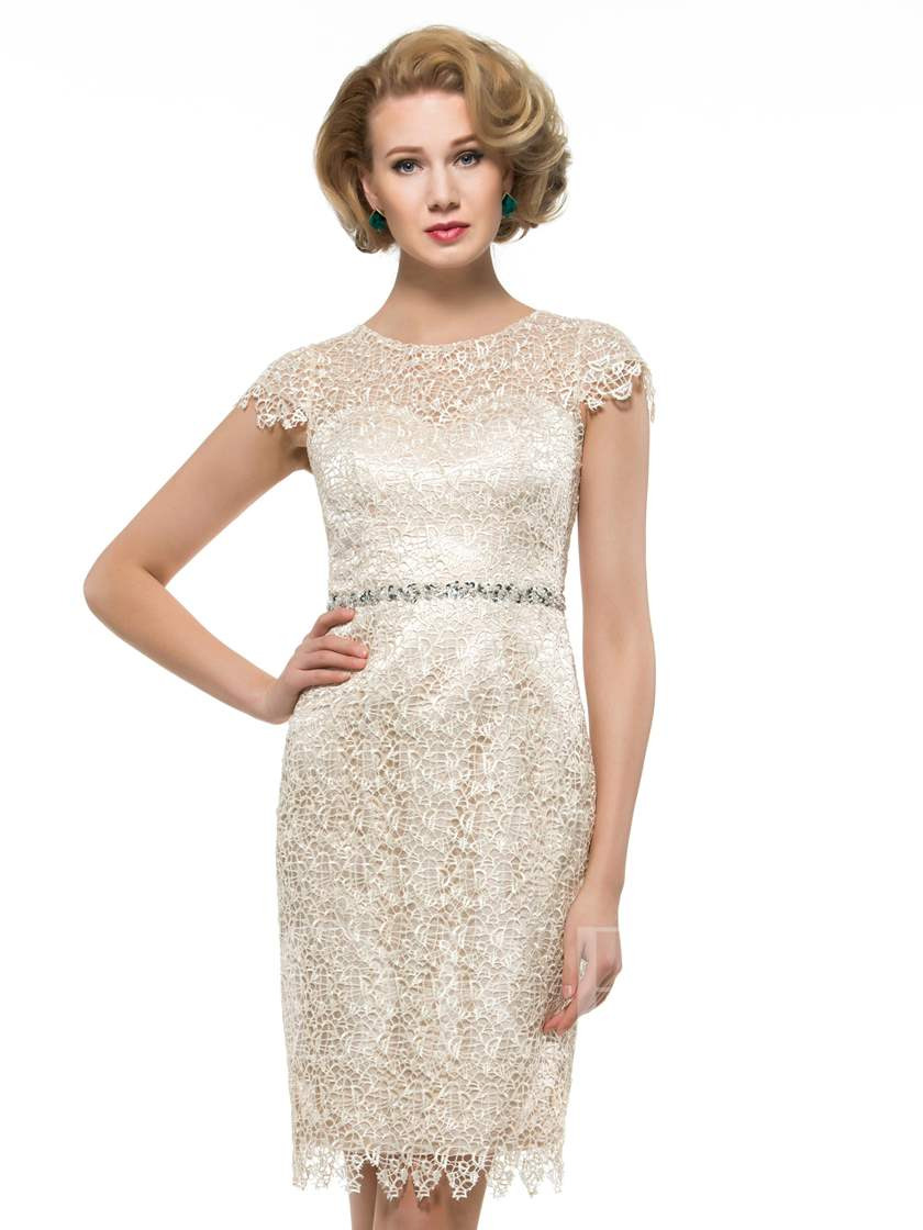 Lace Beading Knee-Length Plus Size Mother of the Bride / Groom Dress