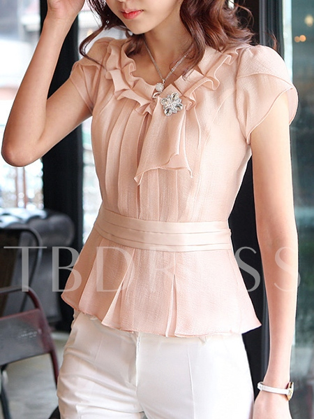 Chic Solid Color Short Sleeve Women's Blouse