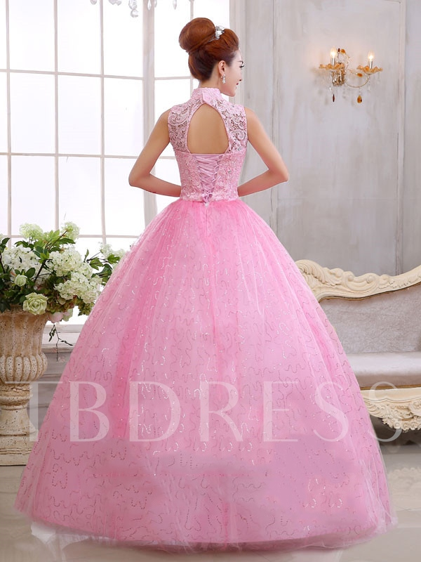 High Neck Lace Appliques Bowknot Floor-length Quinceanera Dress
