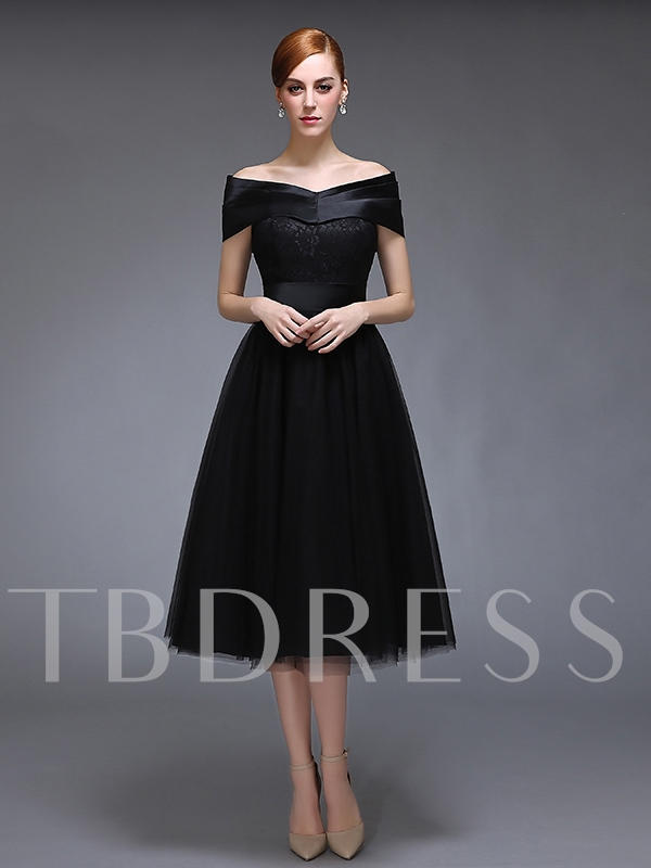 A-Line Off-the-Shoulder Lace Cap Sleeves Evening Dress