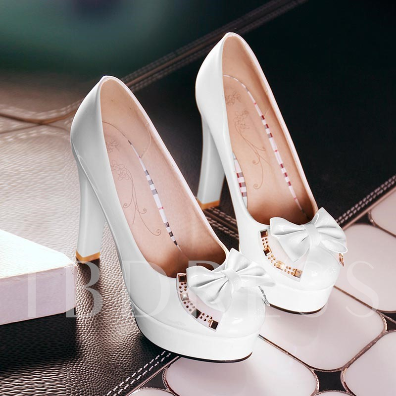 Platform Bowtie Rhinestone Slip-On Round Toe Stiletto Heel Women's Pumps