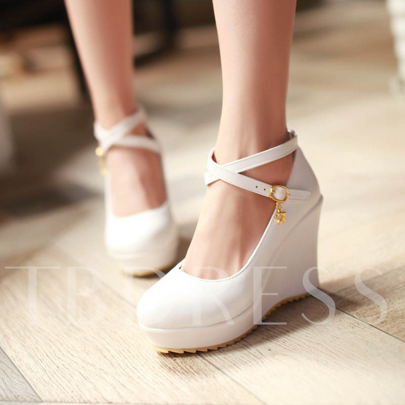 Wedge Heel Platform Round Toe Plain Women's Wedges