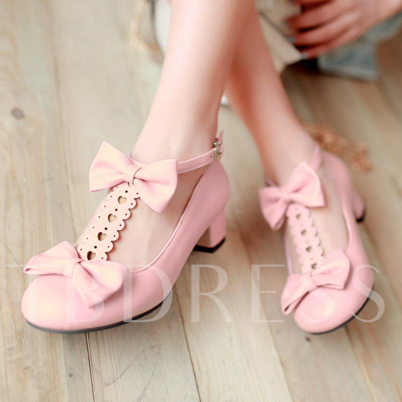 Bowtie T-Shaped Buckle Plain Chunky Heel Round Toe Women's Pumps