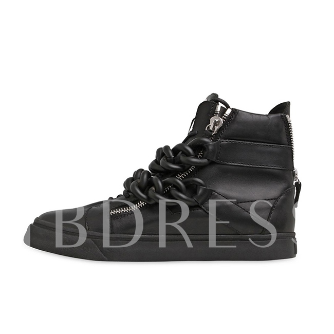 Chain Round Toe Back Zipper Ankle Men's Sneakers