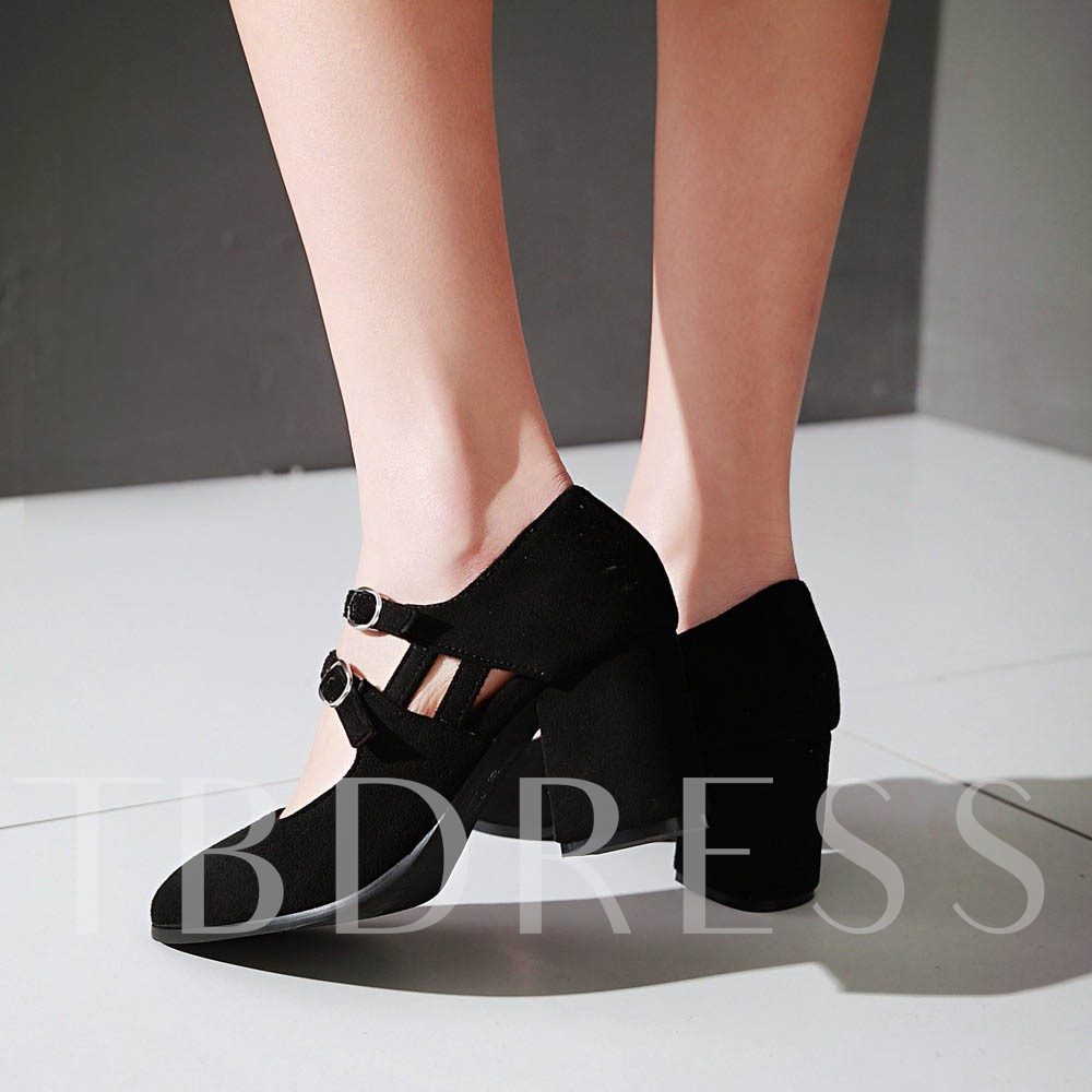 Square High Heel Pointed Toe Plain Women's Pumps