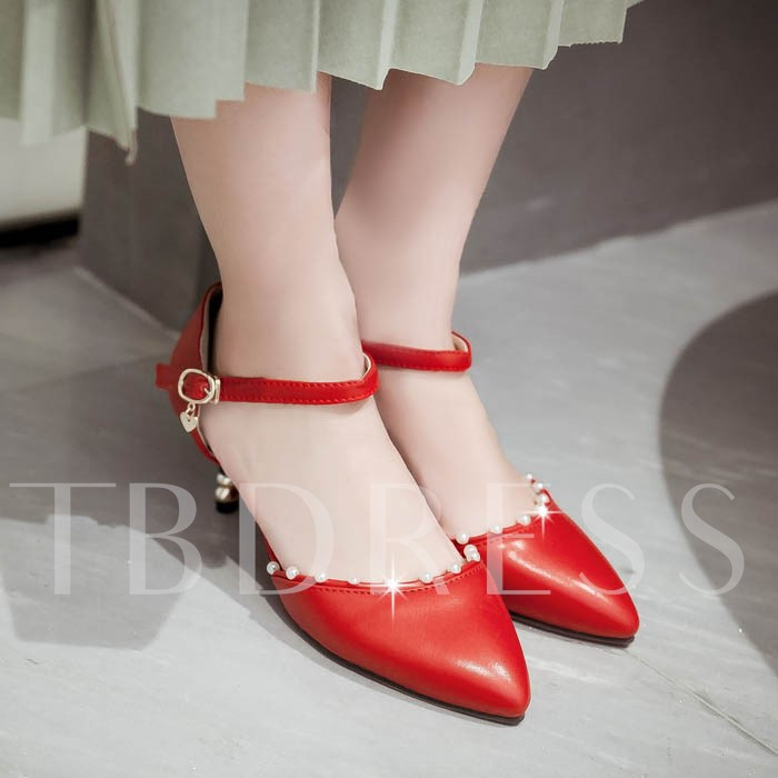 Bead Plain Stiletto Heel Pointed Toe Women's Pumps