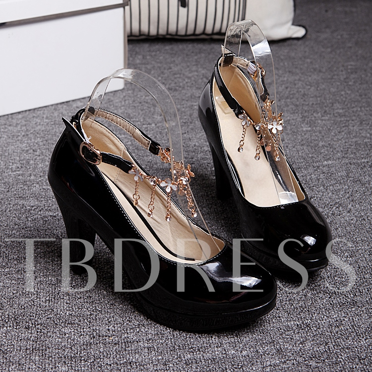 Buy Chunky Heel Plain Chain Round Toe Women's Pumps, Spring,Summer,Fall, 11638595 for $33.99 in TBDress store