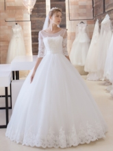 Half Sleeve Lace Appliques Ball Gown Wedding Dress