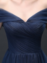 Ruched A-Line Off-the-Shoulder Floor-Length Evening Dress