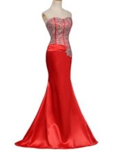 Sweetheart Mermaid Beaded Split-Front Red Evening Dress