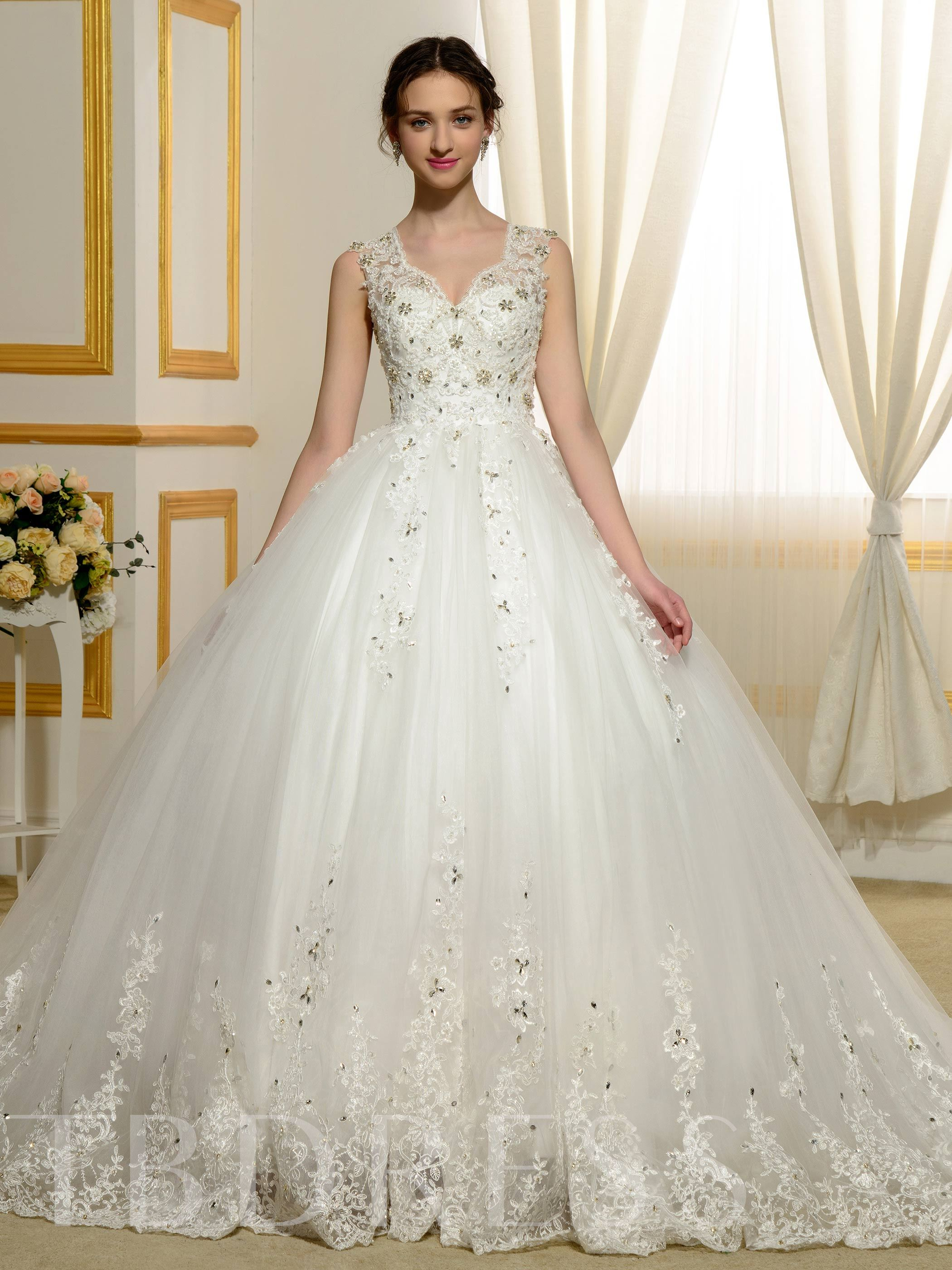 Image of Designer V-Neck Beading Appliques Lace Ball Gown Wedding Dress
