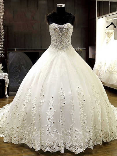 Luxurious Beading Appliques Ball Gown Wedding Dress