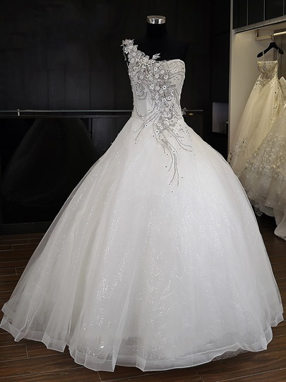 One Shoulder Beading Floor-Length Ball Gown Wedding Dress