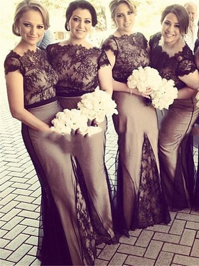 Trumpet Cap Sleeves Lace Bridesmaid Dress