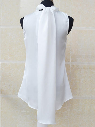 Bow Knot Sleeveless Chiffon Women's Blouse