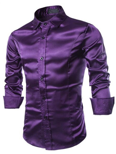 Men's Shirt with Artificial Silk Fabric