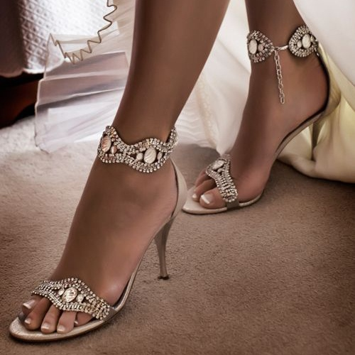 Open Toe Rhinestones Stiletto Heel Sandals