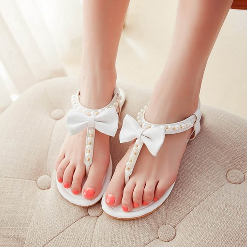 Thong Slip-On Bead Bowtie Plain Women's Sandals