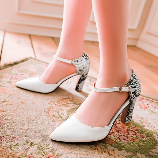 Patchwork Chunky Heel Pointed Toe Women's Pumps