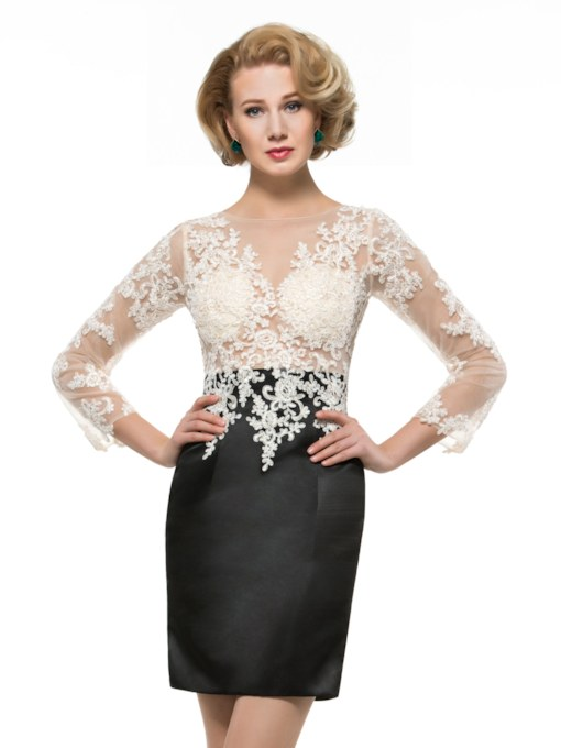 Appliques Short Mother of the Bride Dress with Sleeve