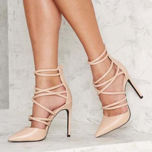 Lace-Up Plain Stiletto Heel Pointed Toe Women's Pumps