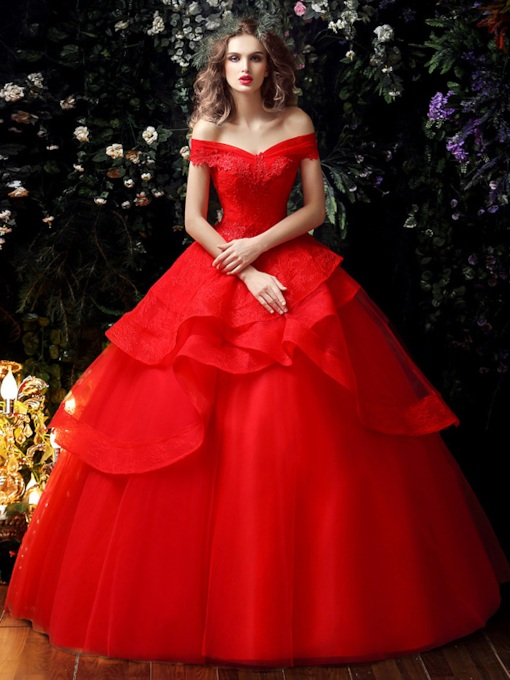 Off the Shoulder Ball Gown Red Wedding Dress