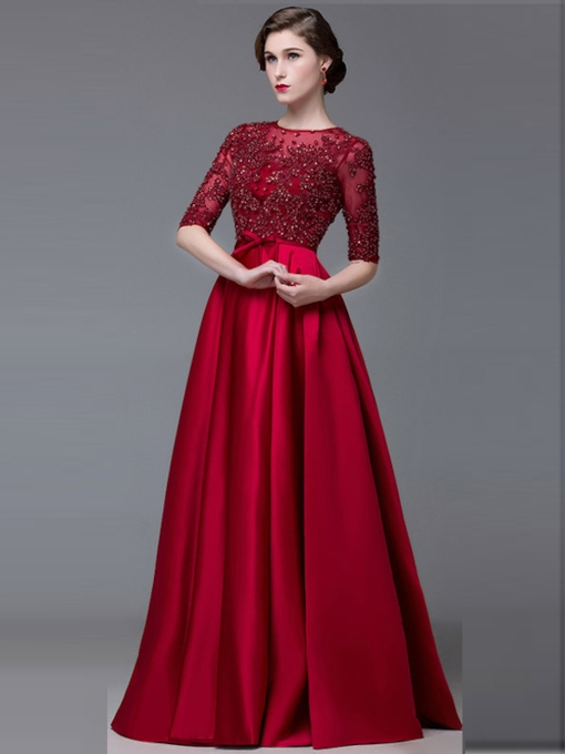Jewel A-Line Half Sleeves Appliques Evening Dress