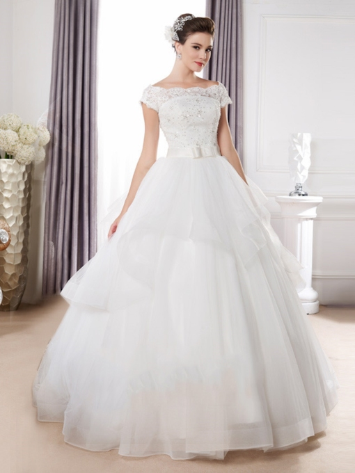 Plus Size Bateau Neck Cap Sleeves Ball Gown Wedding Dress