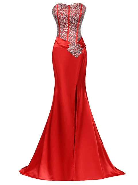 Mermaid Sweetheart Rhinestone Beaded Split-Front Evening Dress