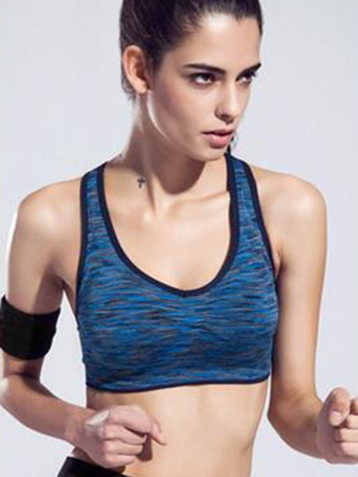 Striped Trim Dyed Expressionism Women Sports Bra