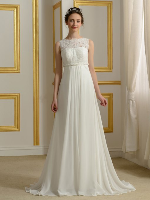 Lace A-Line Empire Waist Chiffon Wedding Dress