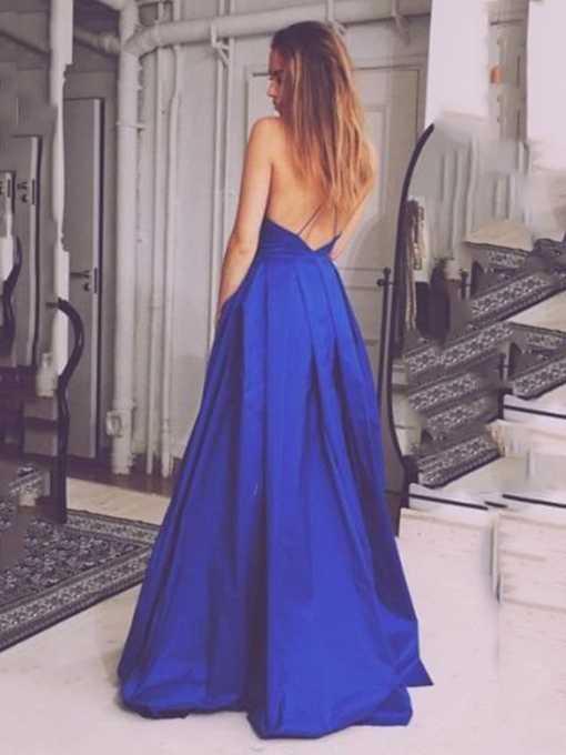Criss-Cross Straps Cheap Royal Blue Prom Dress