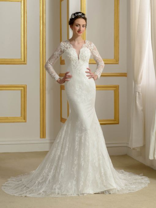 V-Neck Long Sleeve Trumpet/Mermaid Beading Lace Wedding Dress