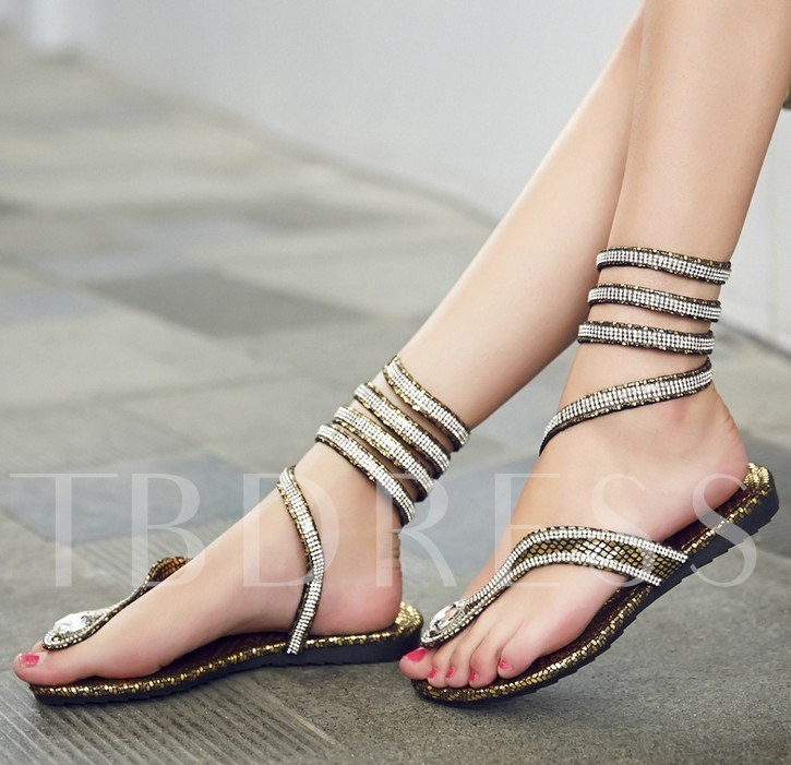 Flat Heel Slip-On Open Toe Rhinestone Sequins Women's Sandals
