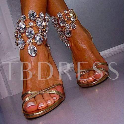 Buy Stiletto Heel Open Toe Plain Rhinestone Plain Women's Sandals, Summer, 11919625 for $75.99 in TBDress store