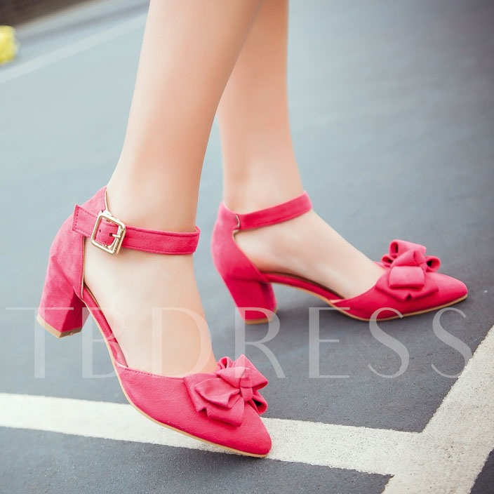 Pointed Toe Plain Chunky Heel Bowtie Women's Pumps