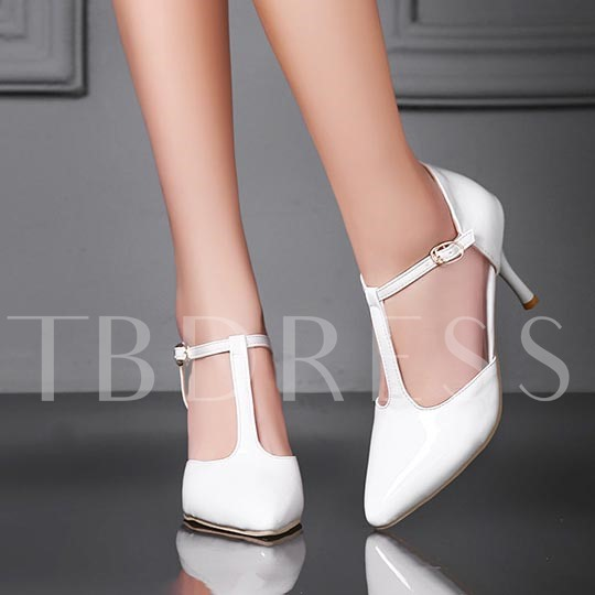Pointed Toe Goblet Heel Plain T-Shaped Buckle Women's Pumps