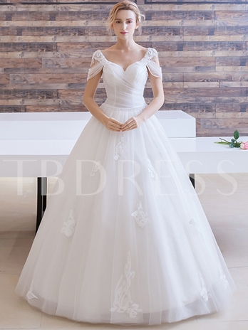 V-Neck Beading Appliques Tulle Ball Gown Wedding Dress